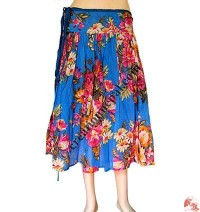 Flowers printed cotton open skirt with string
