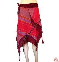 2-layer frills design cotton open wrapper skirt