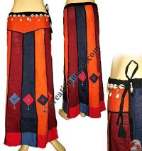 Vertical colorful joined cotton long skirt
