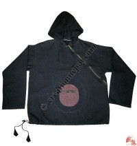Plain shyama round-pocket hooded jacket