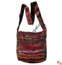 Recycled silk fine-knit flap bag