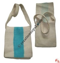 Turquoise stripe white flap bag