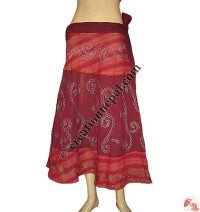 Cotton embroidered open wrapper skirt
