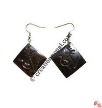 Tibetan OM square ear ring