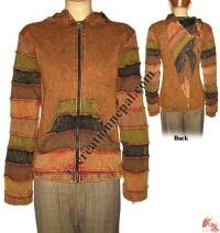 Stone wash pin hood rib jacket