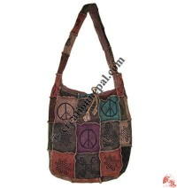 Printed patch-work rib lama bag