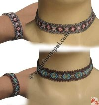 Colorful pote necklace-bracelet set