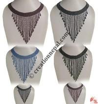 Long frills plain pote necklace
