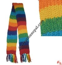 Rainbow color woolen muffler