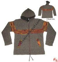 Mixed color stripes woolen hooded jacket2