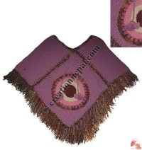 Recycled silk frills woolen poncho
