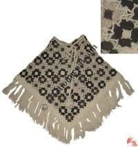 Natural color flower patch woolen poncho