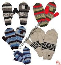 Assorted woolen cover gloves with fleece