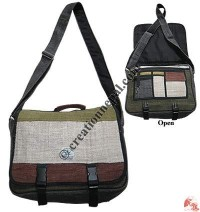 Patch-work office-file hemp bag