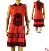 Long hood dress with Buddha print patch