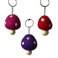 Mushroom design felt key ring