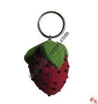 Strawberry design felt key ring