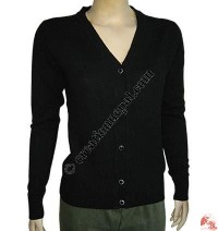 Ladies V-neck cardigan sweater1
