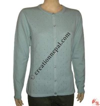 Ladies round-neck cardigan sweater