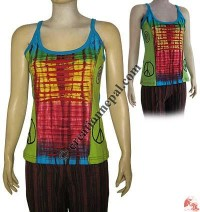 Hand embroidered razor cut tank top