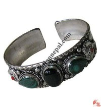 3-stone white metal bangle