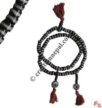 Stripes flat beads bone Mala