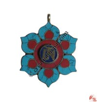 Tibetan OM mantra Lotus pendant