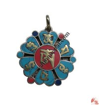 Tibetan Om mani  flower pendant