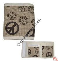 Peace prints hemp wallet