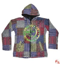 Peace print khaddar patch-work jacket