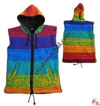Sleeveless woolen hooded jacket