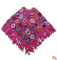 Colorful flowers woolen net poncho