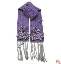Flowers and frills woolen crochet muffler