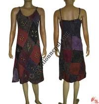 Patch work hand print cotton halter dress