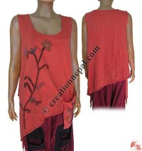 Ribbed cotton funky design sleeveless top