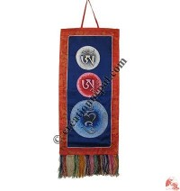 Om Ha Hum mantra brocade wall hanging