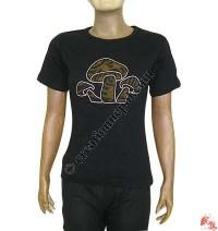 Mushroom design rib t-shirt