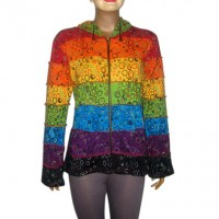 Bubbles print colorful joined rib long hood top