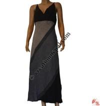 Cotton wide stripes long dress