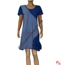 Cap-sleeves fine rib dress