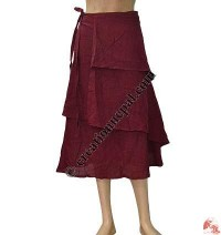Plain cotton two layer wrapper skirt