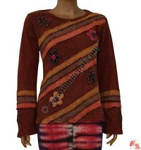 Stripes patch flower maroon top
