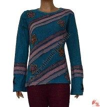 Stripes patch flower turquoise top