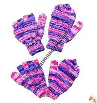 Stripes woolen cover glove