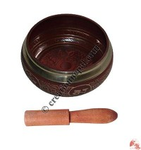 Buddha images attached red singing bowl