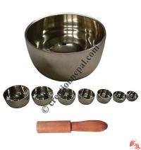 Plain vertical design singing bowl set (Set of 7)