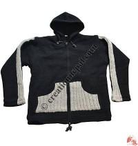 Woolen sleeves joined jacket