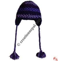 Double layer net crochet woolen ear hat 4