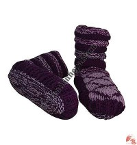 Woolen indoor socks - Purple