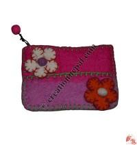 Two-color felt flower coin purse